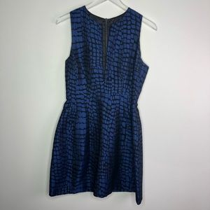 Armani Exchange Blue Reptile Print Tulip Dress 8